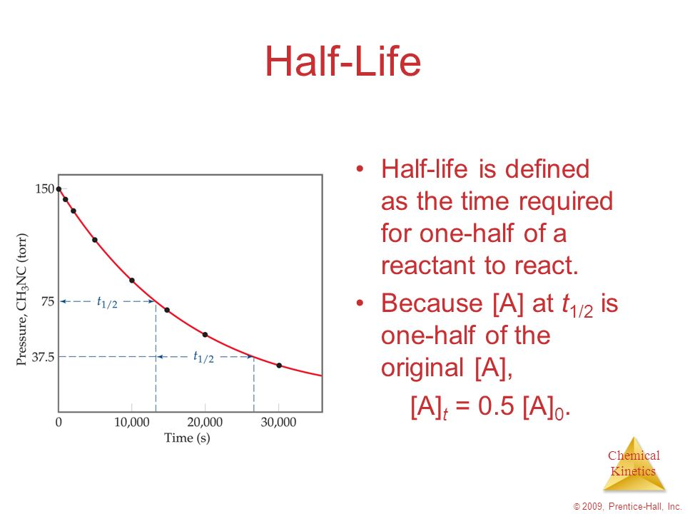 Half-Life Half-life is defined as the time required for one-half of a reactant to react. Because [A] at t1/2 is one-half of the original [A],